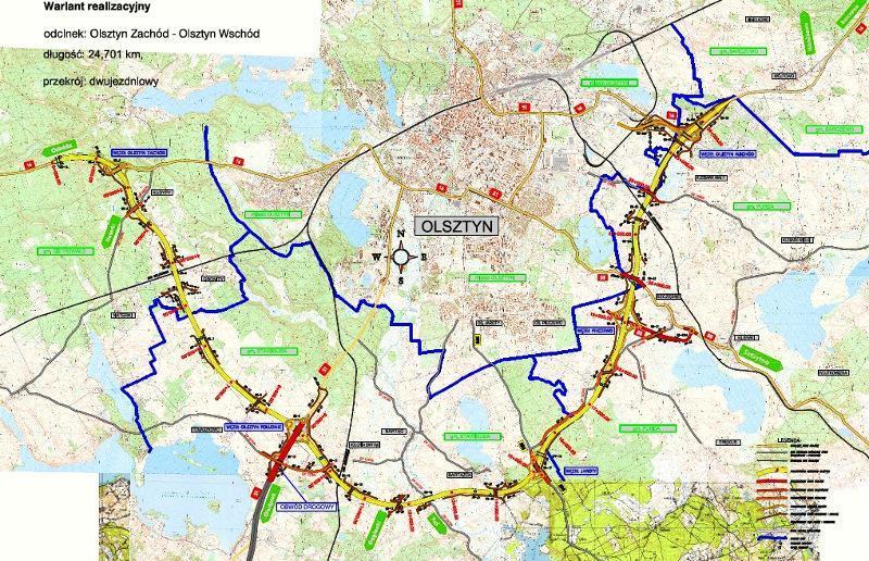 Południowa obwodnica Olsztyna - mapa przebiegu odcinków DK16 i S51