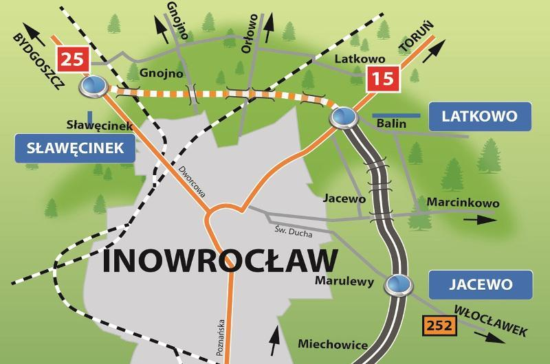 Mapa przebiegu obwodnicy Inowrocławia w ciągu DK15 i DK25