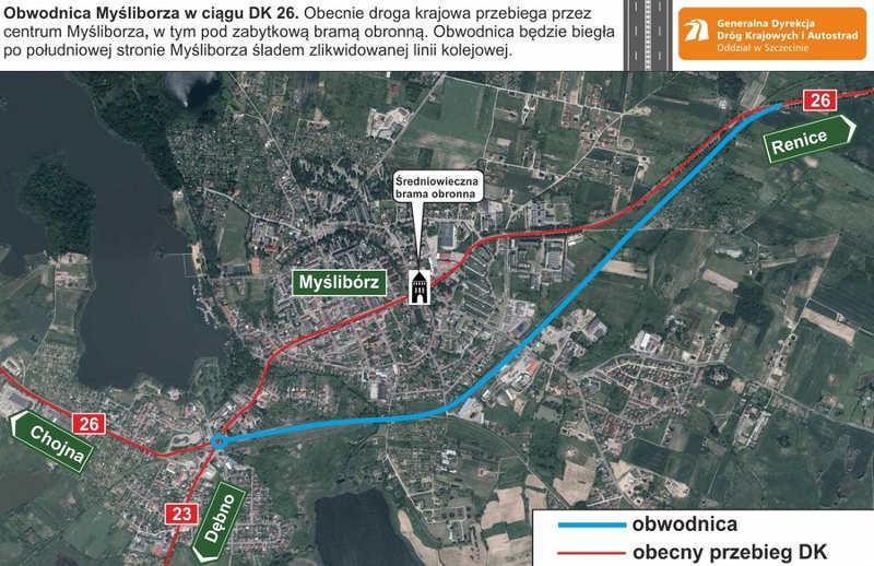 Mapa z przebiegiem obwodnicy Myśliborza w ciagu drogi krajowej nr 26