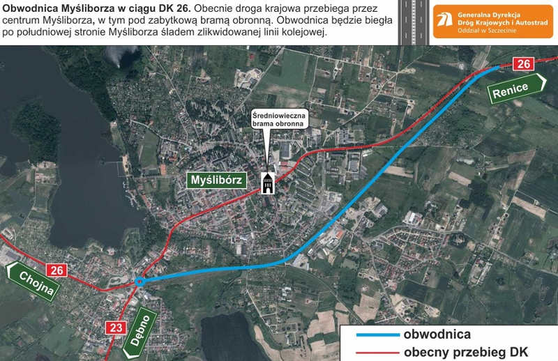 Obwodnica Myśliborza w ciągu drogi krajowej nr 26 - mapa przebiegu