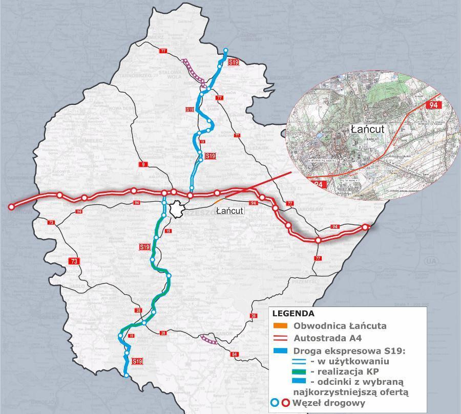 Mapa - obwodnica Łańcuta w ciągu DK94