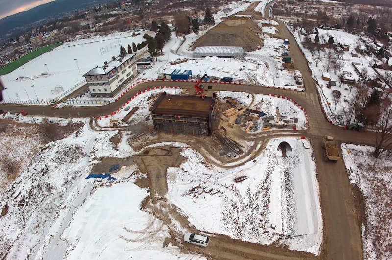 Zima na budowie obwodnicy Sanoka