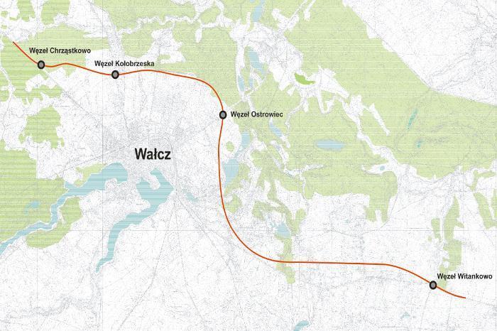 Mapa przebiegu obwodnicy Wałcza w ciągu drogi S10