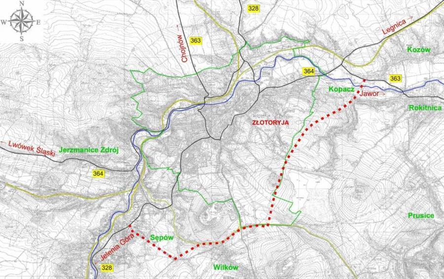 Mapa przebiegu obwodnicy Złotoryi w ciągu drogi wojewódzkiej nr 363