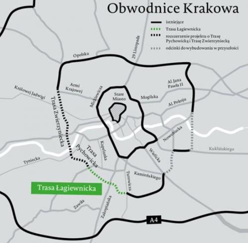 Mapa obwodnic Krakowa. Budowa Trasy Łagiewnickiej
