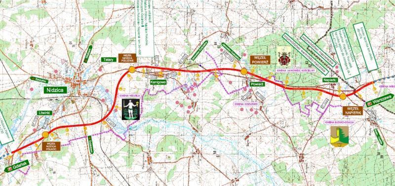 Mapa drogi S7 Nidizca - Napierki