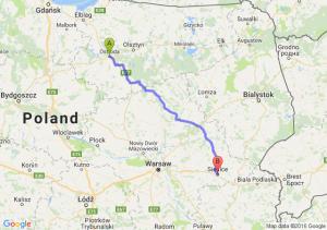 Ostróda (warmińsko-mazurskie) - Siedlce (mazowieckie)