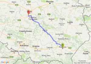 Trasa Rzeszów - Pabianice