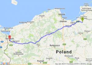 Pieniężno (warmińsko-mazurskie) - Szczecin (zachodniopomorskie)