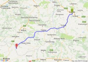 Lublin (lubelskie) - Działoszyce (świętokrzyskie)