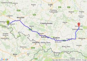 Kamienna Góra (dolnośląskie) - Sandomierz (świętokrzyskie)
