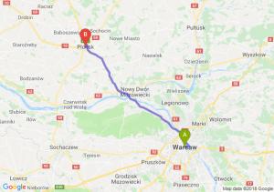 Trasa Warszawa - Płońsk