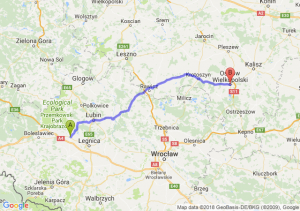 Trasa Chojnów - Ostrów Wielkopolski