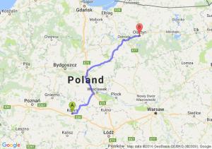 Konin (wielkopolskie) - Olsztyn (warmińsko-mazurskie)