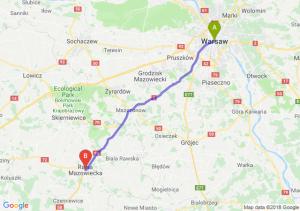 Trasa Warszawa - Rawa Mazowiecka