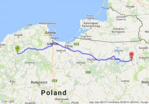 Miastko (pomorskie) - Ełk (warmińsko-mazurskie)