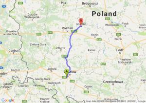 Trasa Biskupice Podgórne - Gniezno