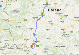 Bydgoszcz (kujawsko-pomorskie) - Gniezno (wielkopolskie) - Dzierżoniów (dolnośląskie)