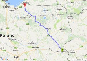 Trasa Biała Podlaska - Pieniężno