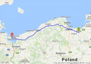 Elbląg (warmińsko-mazurskie) - Świnoujście (zachodniopomorskie)