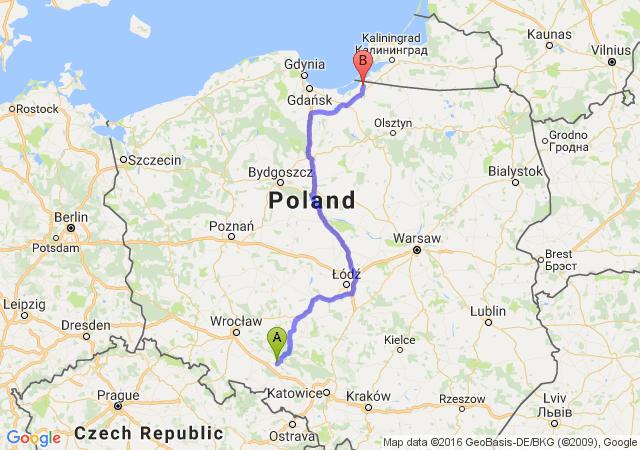 Opole (opolskie) - Braniewo (warmińsko-mazurskie)