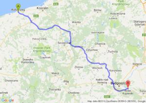 Kołobrzeg (zachodniopomorskie) - Solec Kujawski (kujawsko-pomorskie)