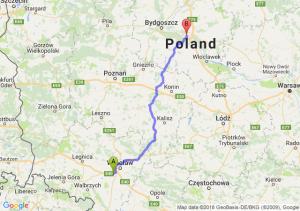 Trasa Biskupice Podgórne - Toruń