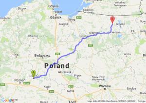 Gniezno (wielkopolskie) - Kętrzyn (warmińsko-mazurskie)