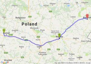Sady (wielkopolskie) - Warszawa (mazowieckie) - Białystok (podlaskie)