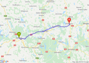 Trasa Ostróda - Biskupiec