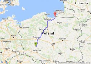 Rawicz (wielkopolskie) - Braniewo (warmińsko-mazurskie)