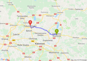 Trasa Dąbrowa Górnicza - Piekary Śląskie