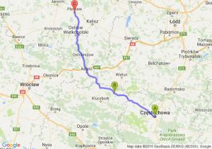 Częstochowa (śląskie) - Praszka (opolskie) - Pleszew (wielkopolskie)