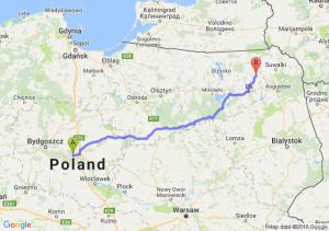 Toruń (kujawsko-pomorskie) - Olecko (warmińsko-mazurskie)