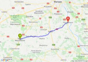Trasa Rawa Mazowiecka - Góra Kalwaria