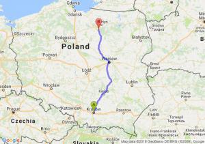 Trasa Kraków - Olsztynek