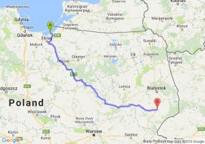 Tolkmicko (warmińsko-mazurskie) - Bielsk Podlaski (podlaskie)