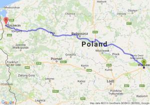 Warszawa (mazowieckie) - Szczecin (zachodniopomorskie)