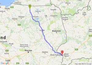 Korsze (warmińsko-mazurskie) - Terespol (lubelskie)