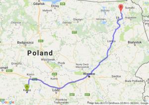 Kalisz (wielkopolskie) - Olecko (warmińsko-mazurskie)