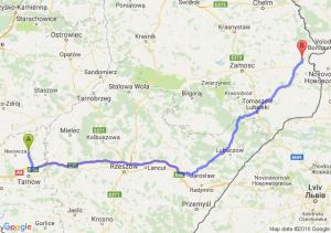 Dąbrowa Tarnowska (małopolskie) - Hrubieszów (lubelskie)
