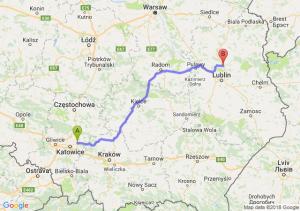 Trasa Dąbrowa Górnicza - Lubartów
