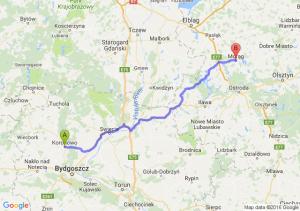 Koronowo (kujawsko-pomorskie) - Morąg (warmińsko-mazurskie)