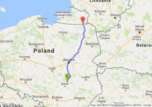Skarżysko-Kamienna (świętokrzyskie) - Gołdap (warmińsko-mazurskie)