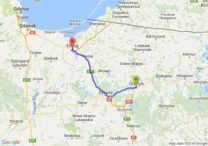 Trasa Olsztyn - Elbląg