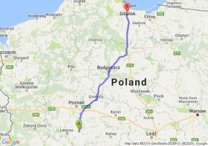 Gostyń (wielkopolskie) - Pruszcz Gdański (pomorskie)