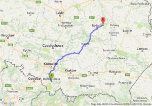 Bielsko-Biała (śląskie) - Pionki (mazowieckie)