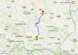 Brzesko (małopolskie) - Radom (mazowieckie)