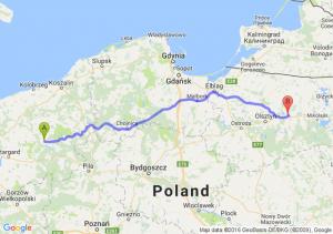 Drawsko Pomorskie (zachodniopomorskie) - Biskupiec (warmińsko-mazurskie)