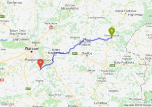 Trasa Siemiatycze - Góra Kalwaria